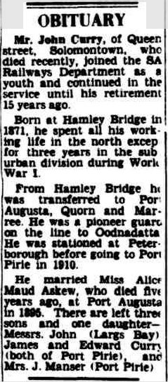 1951 'OBITUARY.', The Advertiser (Adelaide, SA : 1931 - 1954), 18 August, p. 5, viewed 5 October, 2015, http://nla.gov.au/nla.news-article45726473