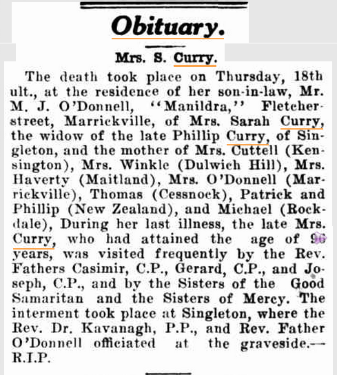 1926 'Obituary.', The Catholic Press (Sydney, NSW : 1895 - 1942), 4 March, p. 34, viewed 5 October, 2015, http://nla.gov.au/nla.news-article106261111