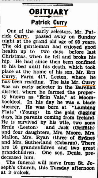 1948 'OBITUARY.', The Murrumbidgee Irrigator (Leeton, NSW : 1915 - 1954), 23 November, p. 2, viewed 5 October, 2015, http://nla.gov.au/nla.news-article156116208